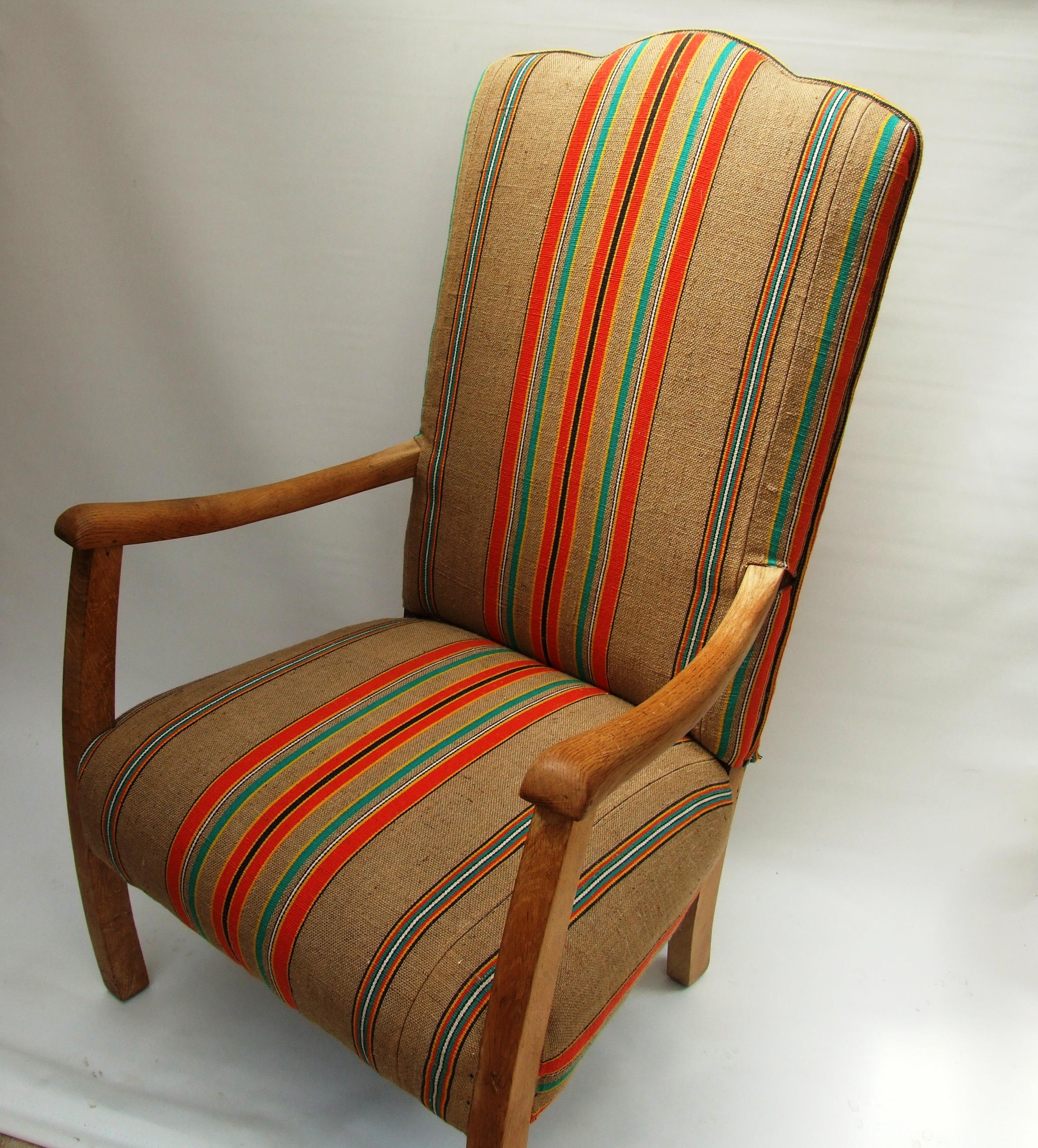1930s Fireside Chair recovered in vintage french burlapMaud Chairs