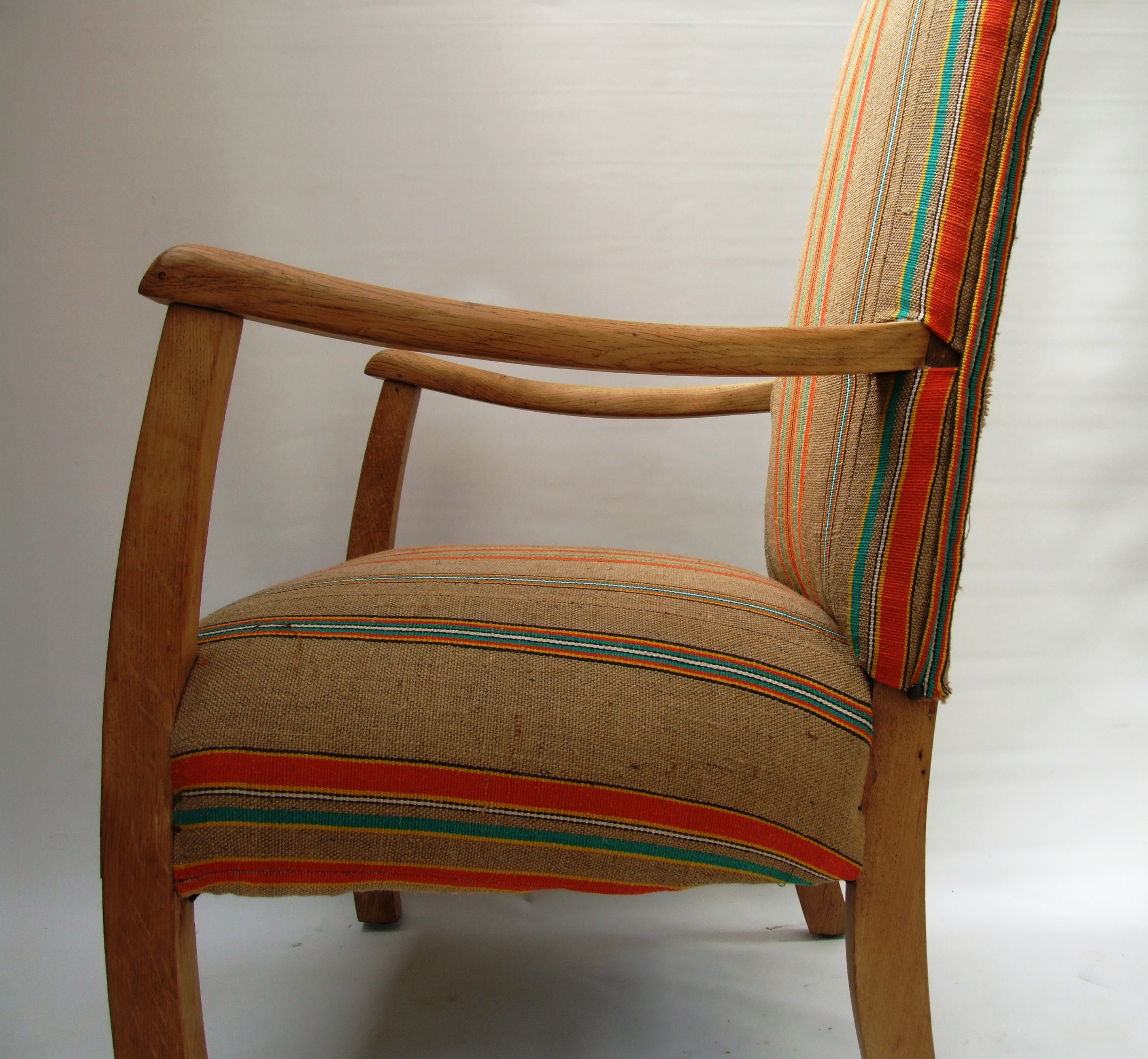 1930s Fireside Chair Recovered In Vintage French