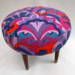 1950s Foot stool_vintage Heals fabric