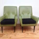 1950s Armchairs Green Vinyl