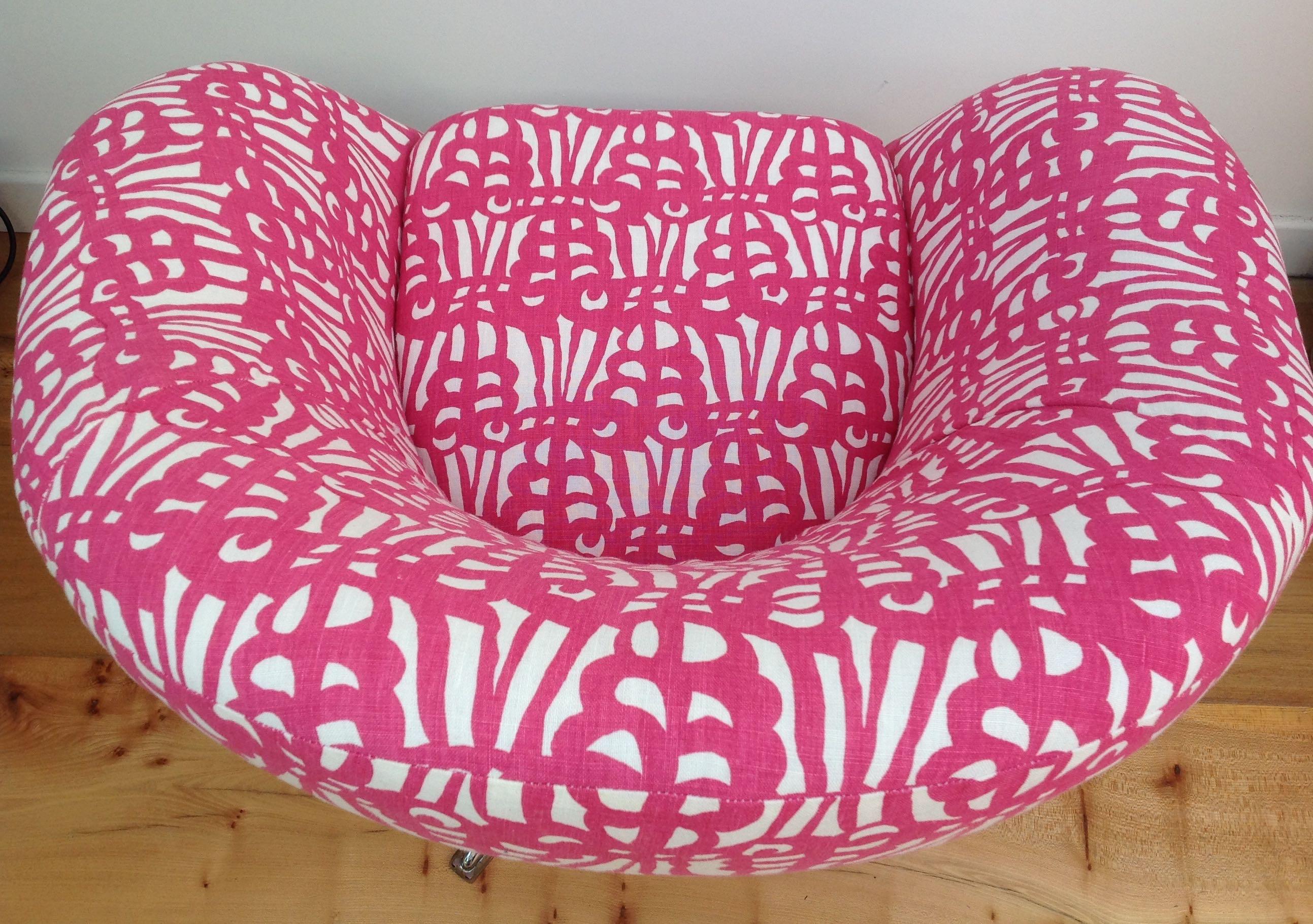 Vintage 1960s 70s Egg Chair Belgian Linen Maud