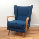 1950s Vintage Howard Keith Wing Back Armchair Teal Kvadrat Wool - 01