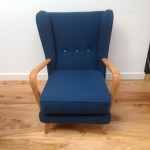 1950s Vintage Howard Keith Wing Back Armchair Teal Kvadrat Wool - 02