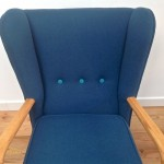 1950s Vintage Howard Keith Wing Back Armchair Teal Kvadrat Wool - 03