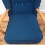 1950s Vintage Howard Keith Wing Back Armchair Teal Kvadrat Wool - 04