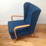 1950s Vintage Howard Keith Wing Back Armchair Teal Kvadrat Wool - 05
