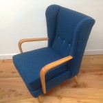 1950s Vintage Howard Keith Wing Back Armchair Teal Kvadrat Wool - 06