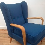 1950s Vintage Howard Keith Wing Back Armchair Teal Kvadrat Wool - 09