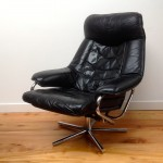 Vintage Danish Leather Recliner and Foot Stool - 1