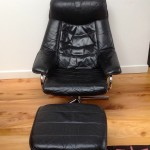 Vintage Danish Leather Recliner and Foot Stool - 2