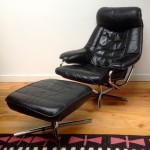 Vintage Danish Leather Recliner and Foot Stool - 3