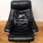 Vintage Danish Leather Recliner and Foot Stool - 6