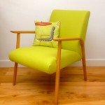 Vintage Danish Mid-Century Swedish Retro wool Lime Green Upholstered