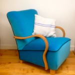 Vintage 1930s Deco Cocktail Club Chair Blue Velvet Teal Wool Kvadrat