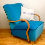 1930s Deco Cocktail Bent Arm Chair Blue Velvet - 3