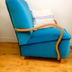 1930s Deco Cocktail Bent Arm Chair Blue Velvet - 4