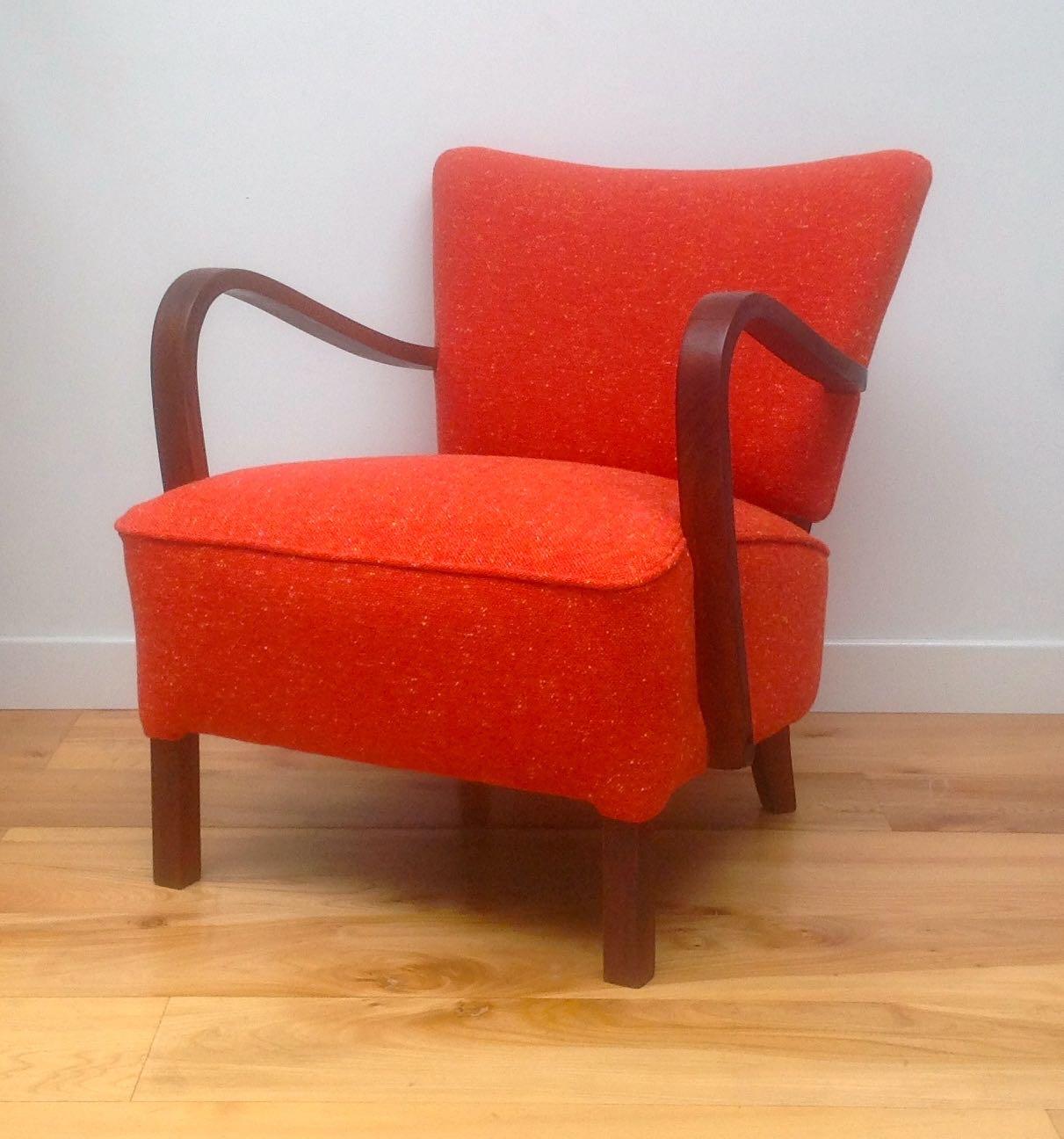 Vintage 1930s Deco Armchair - Orange Tweed - Maud ...