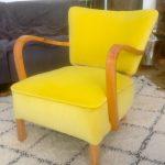 1930s Art Deco Armchair Vintage mid century yellow velvet designers guild